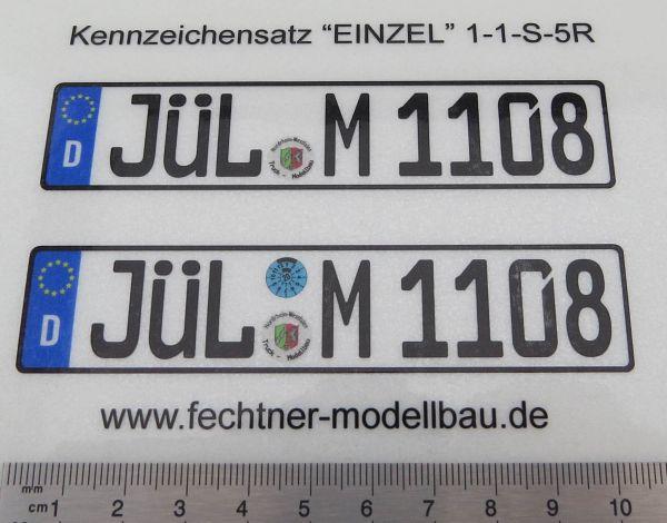"""Euro-Kennzeichen-Set """"EINZEL"""" 1-1-S-5R 2 WUNSCHkennzeichen"""