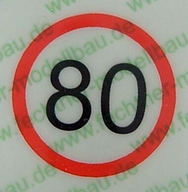 Geschwindigkeitsschild weiss/rot (80) 10mm Durchmesser