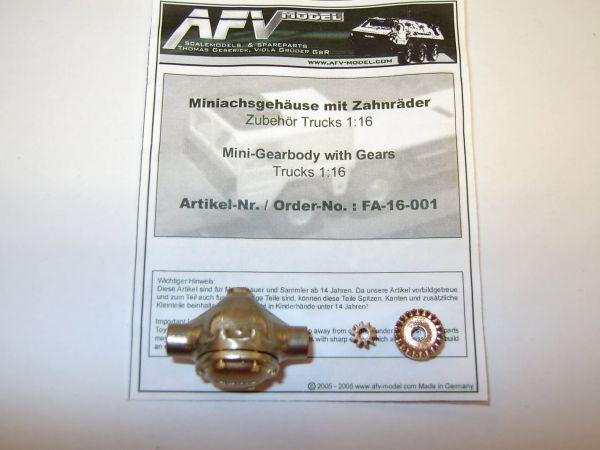 Miniachsgehäuse mit Deckel und Zahnräder Neusilber/Bronze,